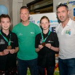 Lecale team captains - Adam Mahon and Ruby Tyndal with Paul Rodgers, head coach Newry